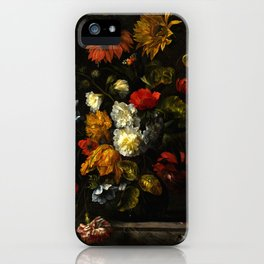 """Ernst Stuven """"A sunflower, carnations, roses, tulips and other flowers in a glass vase on a marble"""" iPhone Case"""