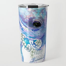 Octopus, sky blue, royal blue sea world underwater scene, beach house art Travel Mug