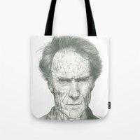 clint eastwood Tote Bags featuring Clint Eastwood by theMAINsketch