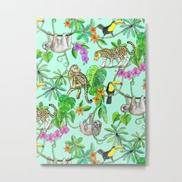 Rainforest Friends - watercolor animals on mint green Metal Print