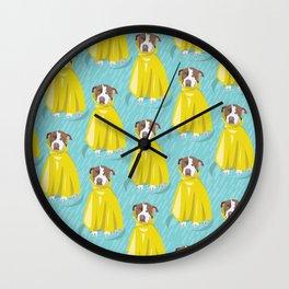 pit bull in rain coat Wall Clock