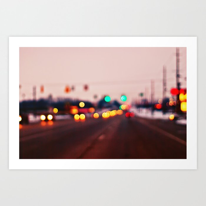 City Lights Bokeh Art Print