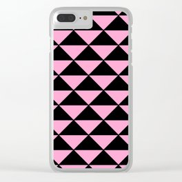 Graphic Geometric Pattern Minimal 2 Tone Infinity Triangles (Pastel Pink & Black) Clear iPhone Case