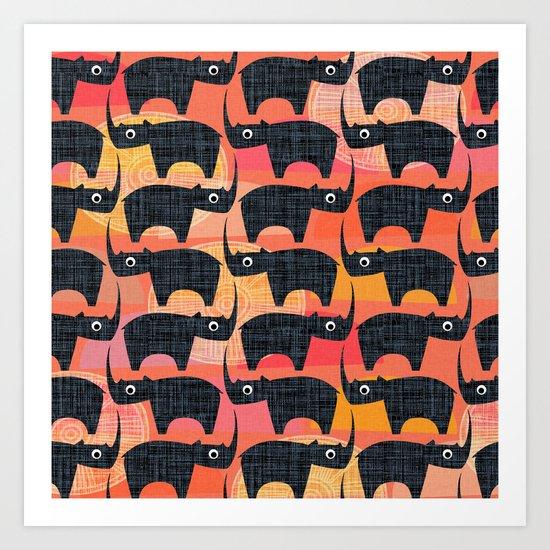 Black Rhino Sunset Art Print