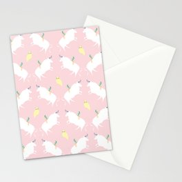The girl, the bull and the owl, (pink) Stationery Cards