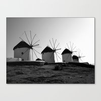 regina mills Canvas Prints featuring Wind mills by Regina Trifeau