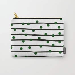 Modern black forest green polka dots stripes Carry-All Pouch