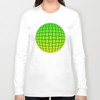 yellow pattern Long Sleeve T-shirts featuring Weave Pattern - Green/Yellow by Lyle Hatch
