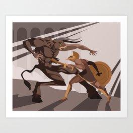 theseus killing the minotaur greek myth Art Print