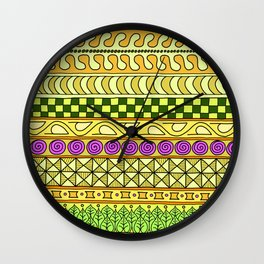 Yzor pattern 011 Yellow Things Wall Clock