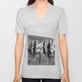 Free the Tata's of the world - bras on a clothsline - go topless black and white photograph - photography - photographs Unisex V-Neck
