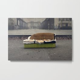 Old sofa in a dirty City Metal Print