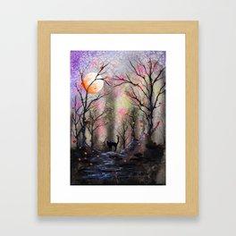 Moonlit forest Framed Art Print