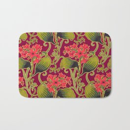 Red Carnation Floral Bath Mat