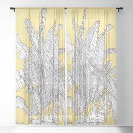Banana Leaves Illustration - Yellow Sheer Curtain