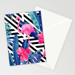 Tropical Pink Flamingo Pattern Stationery Cards
