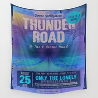 concert Wall Tapestries featuring THUNDER ROAD CONCERT POSTER by Rising Trout Design