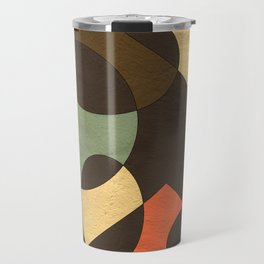 Naturals in Dark Brown and Turquoise Geometrical Design Travel Mug