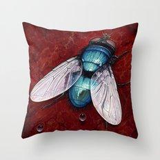 Green Bottle fly Throw Pillow