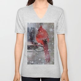 Goldfinch and Cardinal at Feeder Unisex V-Neck