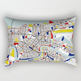 New Orleans, Louisiana City Map - Mondrian Rectangular Pillow