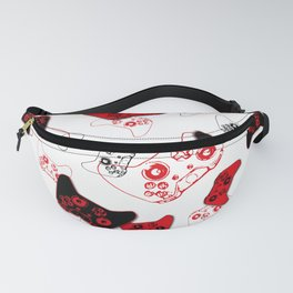 Video Game White and Red Fanny Pack