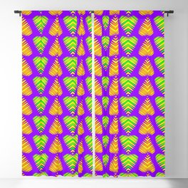Pattern of orange hearts and lime strips on the eggplant background. Blackout Curtain