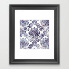 Blueberry Damask Framed Art Print