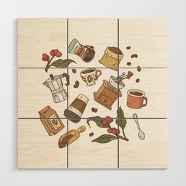 Coffee Break Pattern  Wood Wall Art