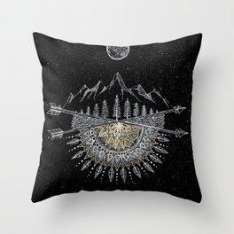 Moon and Stars Night Sky Mountain Range Arrow Mandala Throw Pillow