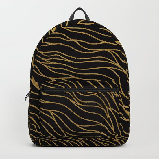 Gold Mermaid Waves on Black -Mix & Match with Simplicity of life Backpack