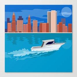 Skycrapers with Speedboat Canvas Print