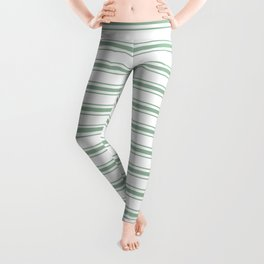 Mattress Ticking Wide Horizontal Striped Pattern in Moss Green and White Leggings