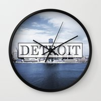 detroit Wall Clocks featuring Detroit Typography by Evan Smith