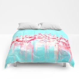 Flamingos tropical illustration Comforters