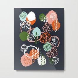 Jonlee - abstract painting watercolor pastel brushstrokes black yellow modern minimal shapes circles Metal Print