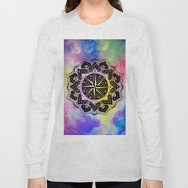 """Rose of the Winds""  WATERCOLOR MANDALA (HAND PAINTED) BY ILSE QUEZADA Long Sleeve T-shirt"