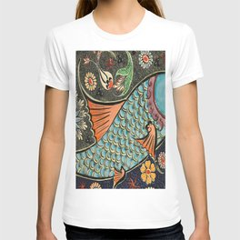 bohemian folk art orange aqua blue japanese good luck koi fish T-shirt