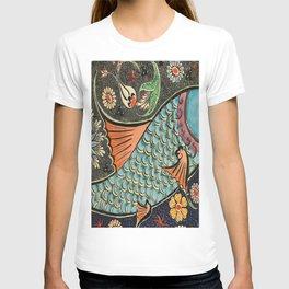 bohemian folk art orange aqua blue japanese good luck koi fish T-shirt