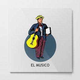 El Musico Mexican Loteria Card Metal Print