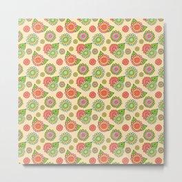 Colorful doodle flowers - Spring Pattern Metal Print