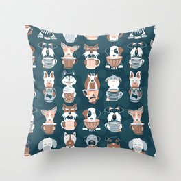 Doggie Coffee and Tea Time II Throw Pillow
