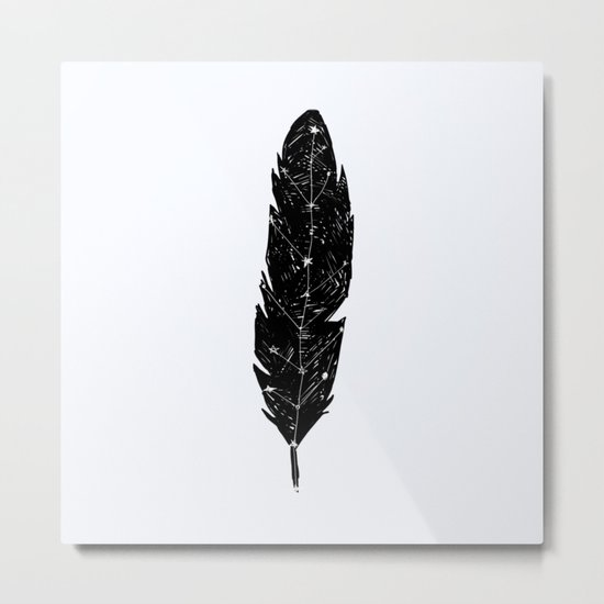 Constellation Feather Metal Print