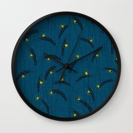 Fireflies in a field Wall Clock