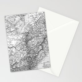 Vintage Map of South Africa (1892) BW Stationery Cards