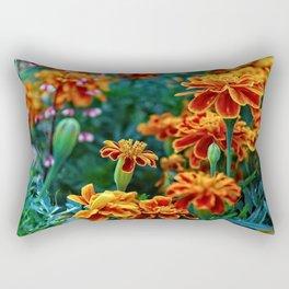 Marigolds in Garden Rectangular Pillow