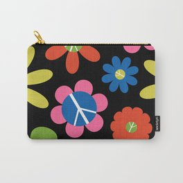 Peace, Love, + Daisies in Black Carry-All Pouch