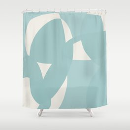 Abstract in dusty light blue and neutral shades Shower Curtain