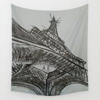 eiffel Wall Tapestries featuring Eiffel by Esteban Garza