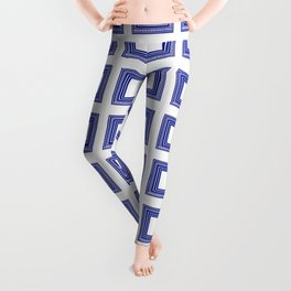 Blue and White Lines Geometric Abstract Pattern Leggings